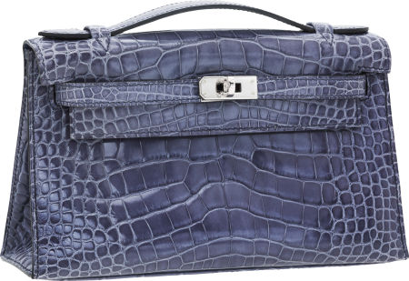 Hermes Shiny Blue Brighton Alligator Kelly Pochette Bag with Palladium Hardware This fantastic Kelly pochette is perfect as an evening bag or to use everyday