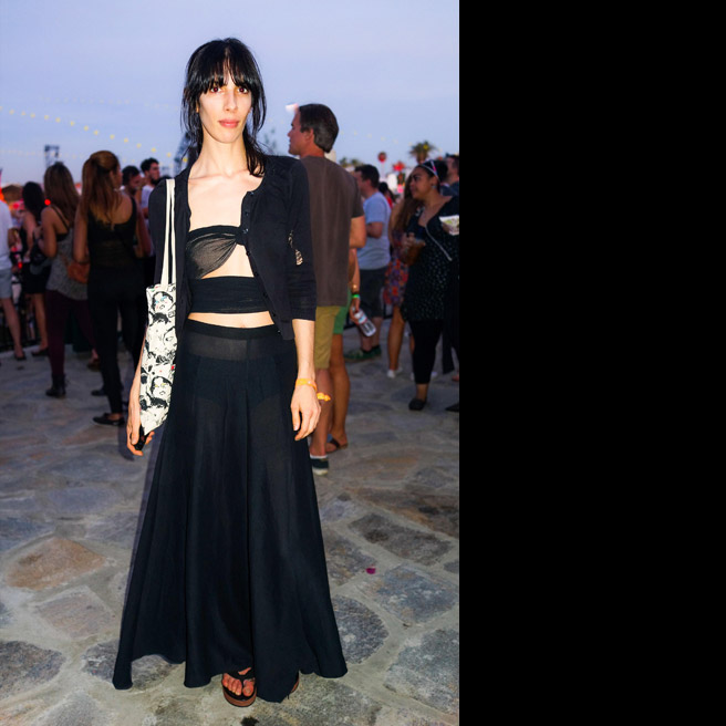 Jamie Bochert, in vintage, with Newbark shoes.
