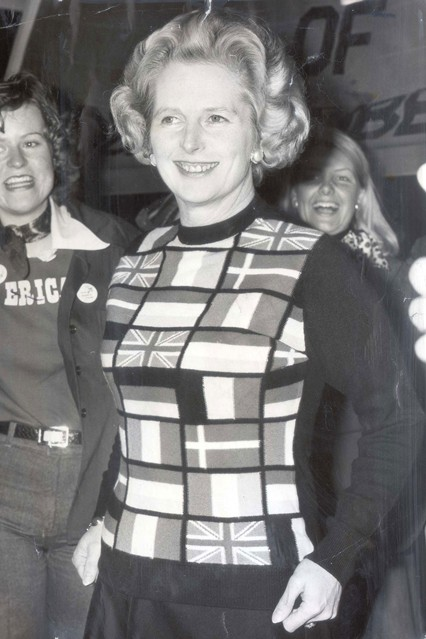 June 1975  Wearing a European flag jumper to attend a pro-market rally.