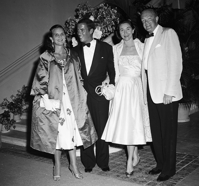 Lilly Pulitzer (left) and husband Herbert (Peter) Pulitzer Jr with Mrs Patrice Massie Tevander and Alexander Cameron, Palm Beach, 1954 From Bert Morgan Archives