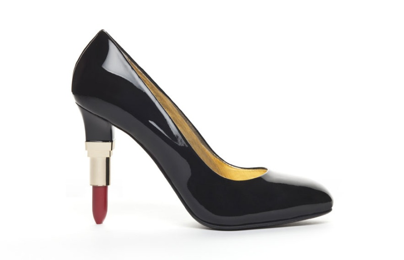 Lipstick heel black patent leather pump