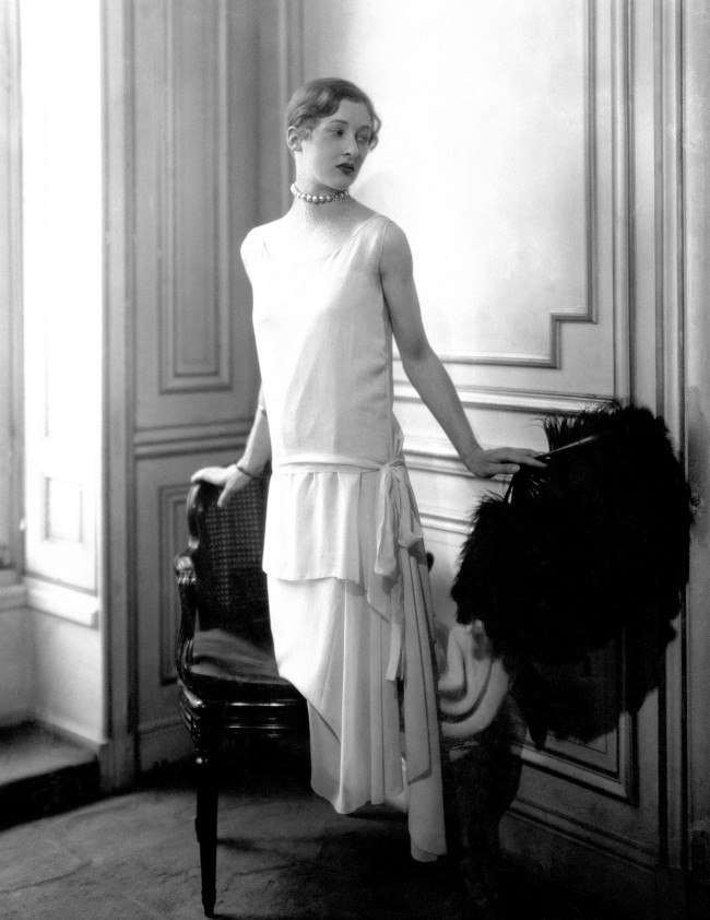 Madame Varda wearing a low-waisted evening dress by Chanel, 1924.