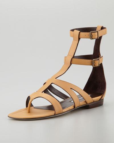Manolo Blahnik Eliza Flat Gladiator Sandal