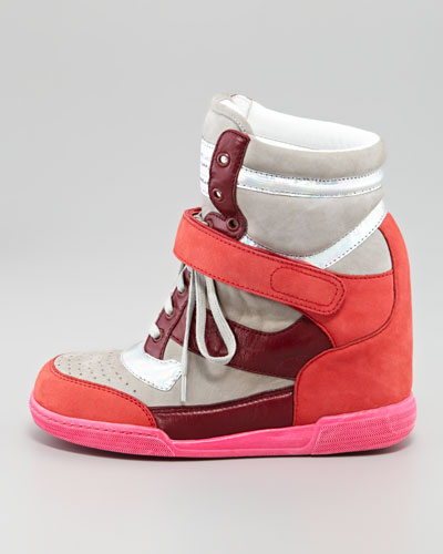 MARC by Marc Jacobs Internal Wedge Sneaker, Silver:Wineberry