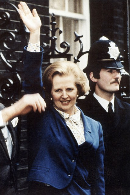 May 1979  Arriving at 10 Downing Street with husband Denis after being named the country's first female Prime Minister.