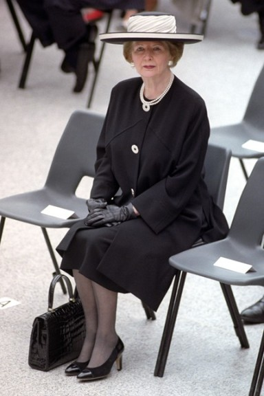 May 6 1994  Dressed in monochrome at the official opening of Waterloo International Station in London.