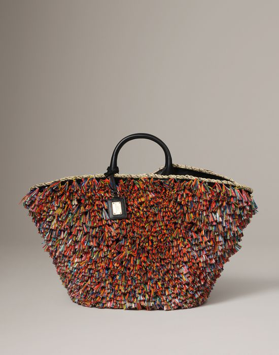 Multi-coloured raffia tufts basket bag