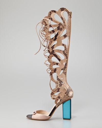 Nicholas Kirkwood Scalloped Snakeskin Sandal Boot