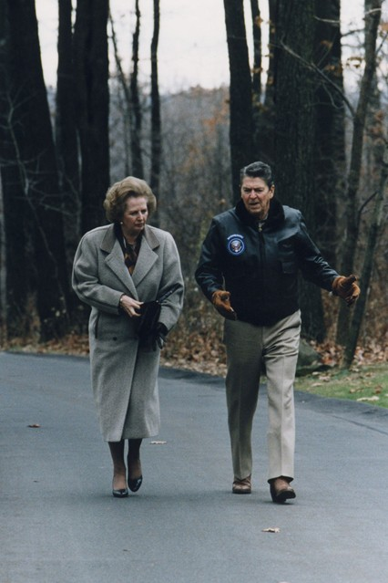 November 1986  At Camp David - the country retreat of the President of the United States - with Ronald Reagan. Photo By Rex Features