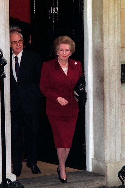 November 28 1990  Leaving 10 Downing Street for the last time with husband Denis. Photo By PA Photos