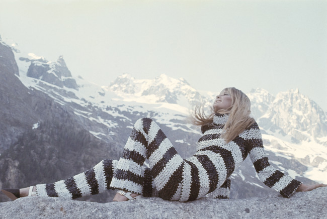 One of our favourite Vogue Alpine shoots- model wears a black and white striped pullover and pants by Deanna Littell for Paraphernalia, December 1966.