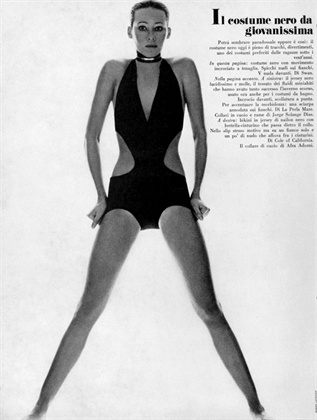 Photo by Barry Lategan 1970 Swimsuit Swan Vogue Italia, May 1970