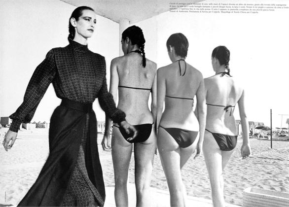 Photo by Peter Knapp 1980 Swimsuit Capucci Vogue Italia, settembre  1980