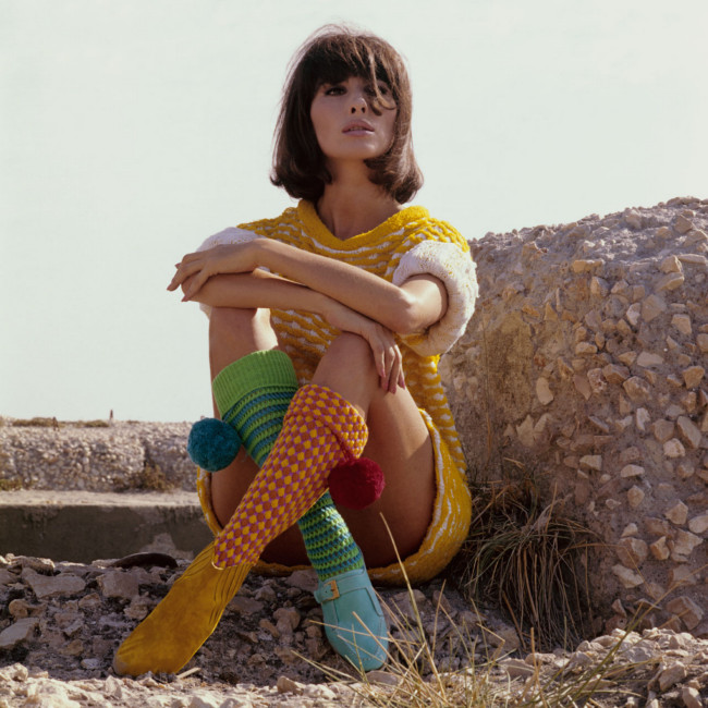 Pom-pom chic! Salvatore Ferragamo boots and Micia mini-dress, 1965.