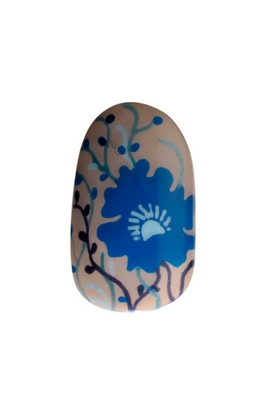 A floral nail design inspired by the look.