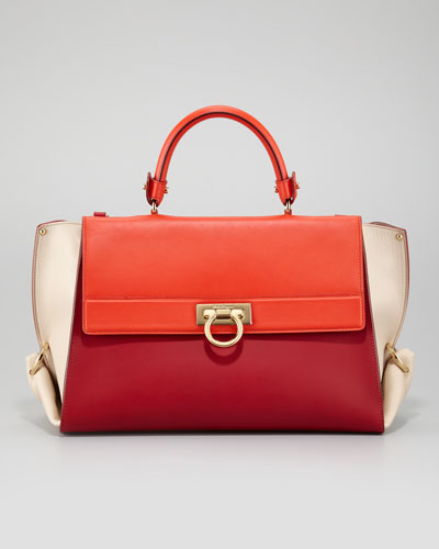 Salvatore Ferragamo  Sofia Colorblock Flap Satchel Bag