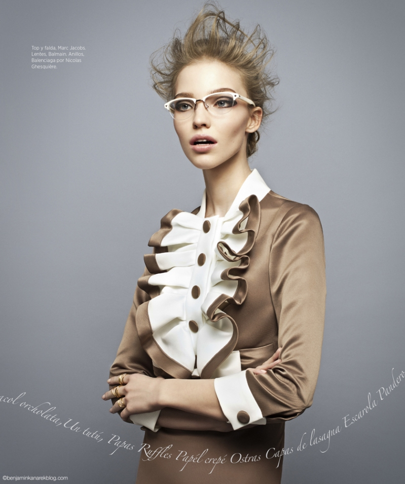 "Sasha Luss in ""Ruffles"" for Harper's Bazaar Latin America  © Benjamin Kanarek"