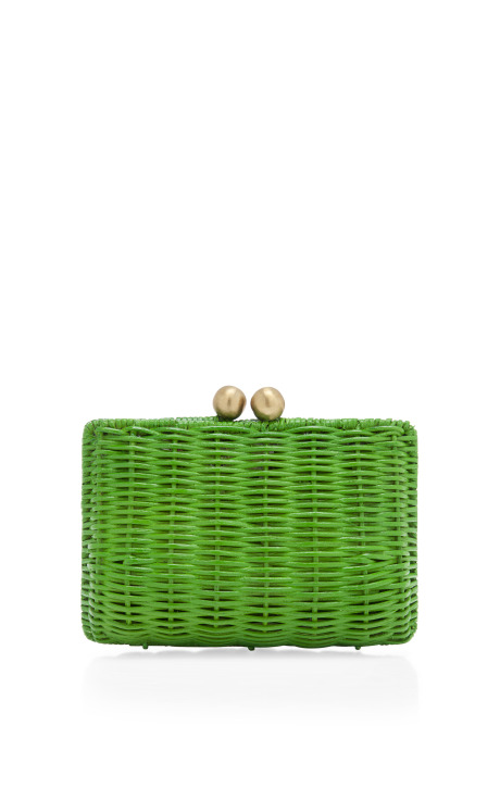 Serpui Marie Lettuce Pic Nic Wicker Clutch