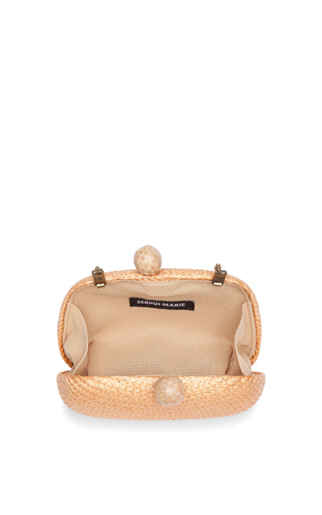 Serpui Marie Peach Buntal Minaudieres Clutch