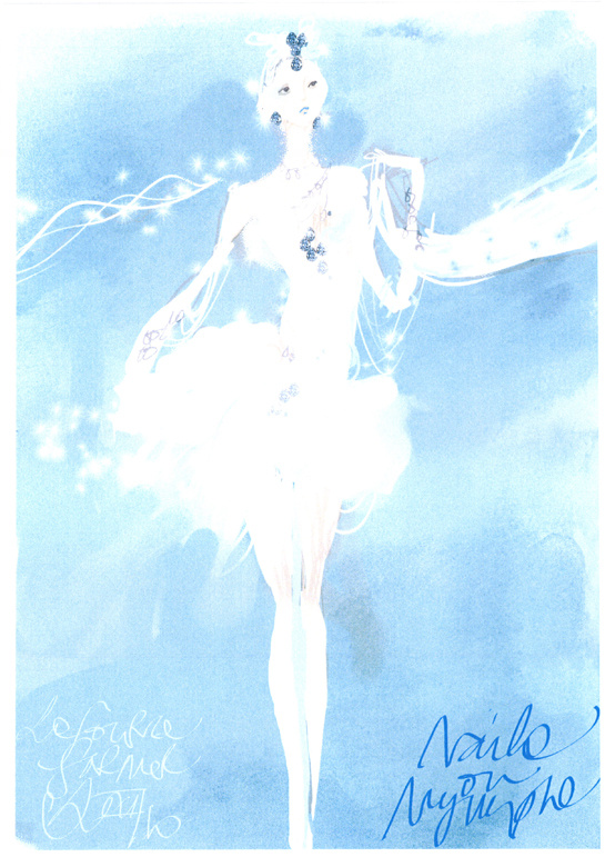 Sketch by Christian Lacroix for costumes from La Source ballet