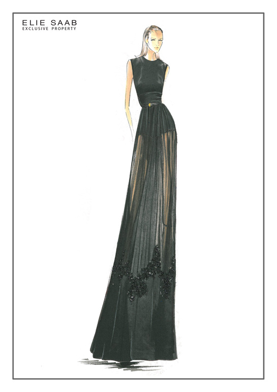 Sketch by Elie Saab for Fall/Winter 2013-2014