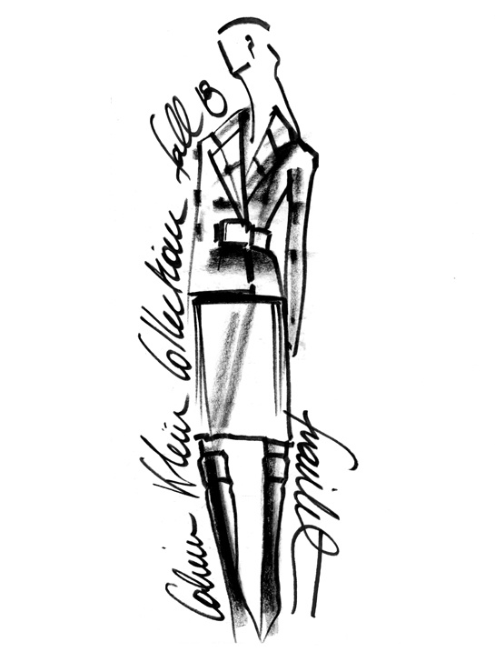 Sketch by Francisco Costa for Calvin Klein Collection Fall/Winter 2013-2014