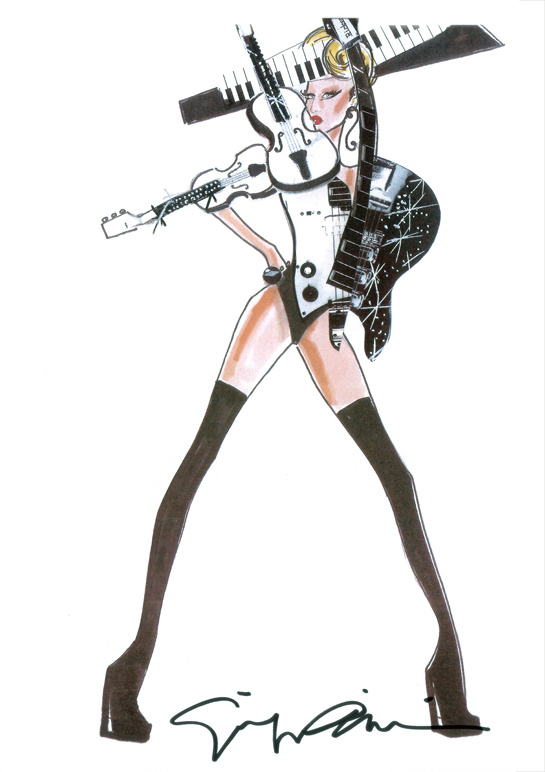 Sketch by Giorgio Armani for Lady Gaga's costumes
