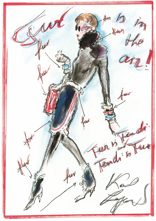 Sketch by Karl Lagerfeld for Fendi Fall/Winter 2013-2014