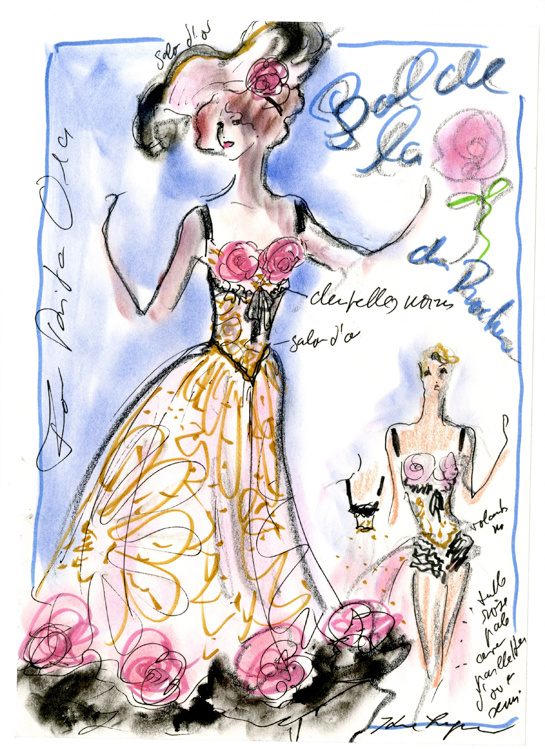 Sketch by Karl Lagerfeld for the Bal de la Rose by Chanel
