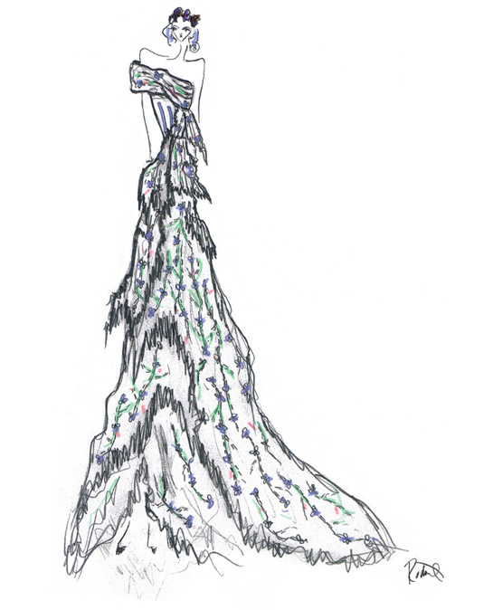 Sketch by Laura and Kate Mulleavy for costumes from Don Giovanni