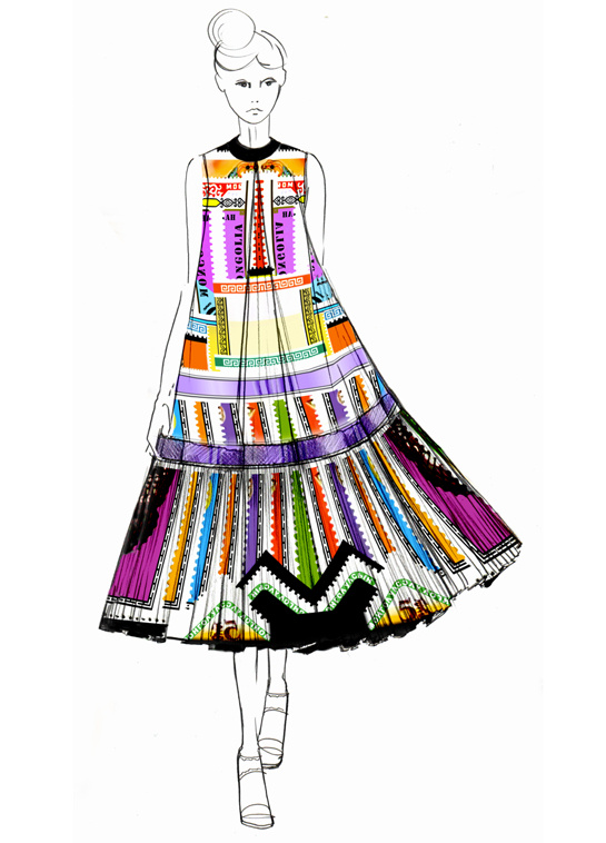 Sketch by Mary Katrantzou for Spring:Summer 2013