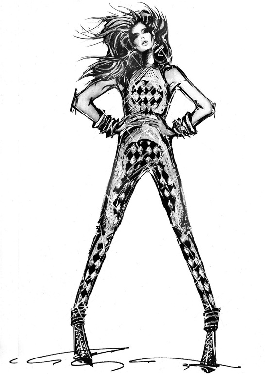Sketch by Olivier Rousteing for Balmain Spring:Summer 2013