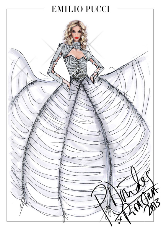 Sketch by Peter Dundas for Rita Ora's costumes