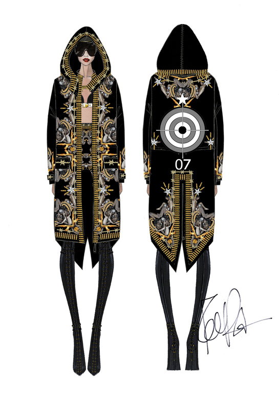 Sketch by Riccardo Tisci for costumes from Rihanna's world tour