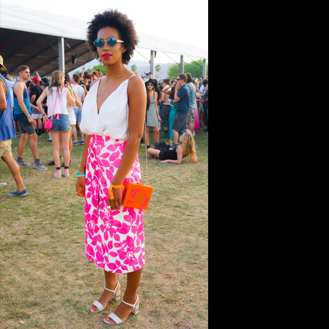 Solange Knowles, in J.Crew and Alice + Olivia, with Marni sunglasses.
