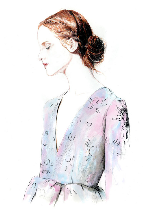 Spring 2013 Couture Shows Illustrations By Caroline Andrieu Magdalena Jasek for Valentino