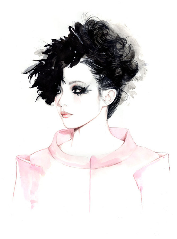 Spring 2013 Couture Shows Illustrations By Caroline Andrieu Xiao Wen for Chanel Couture