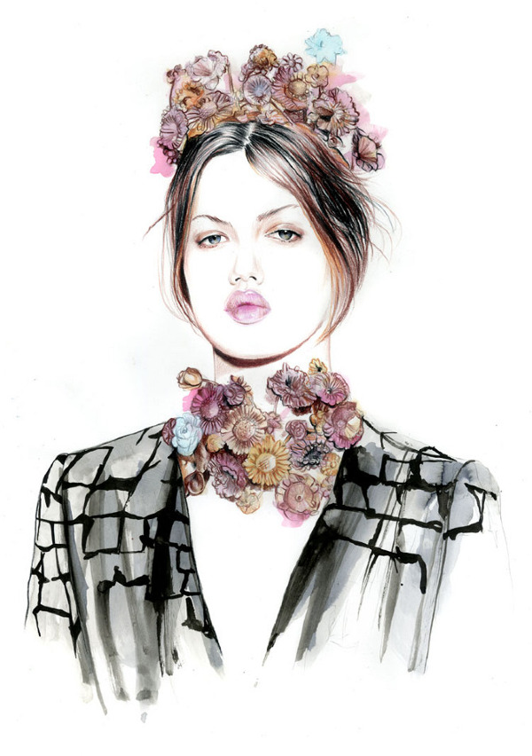 Spring 2013 couture shows illustrations Lindsey Wixson for Giambattista Valli
