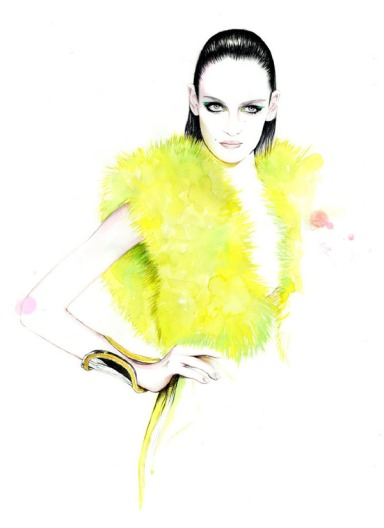 Spring 2013 couture shows illustrations by Caroline Andrieu Zuzanna Bjoch for Atelier Versace