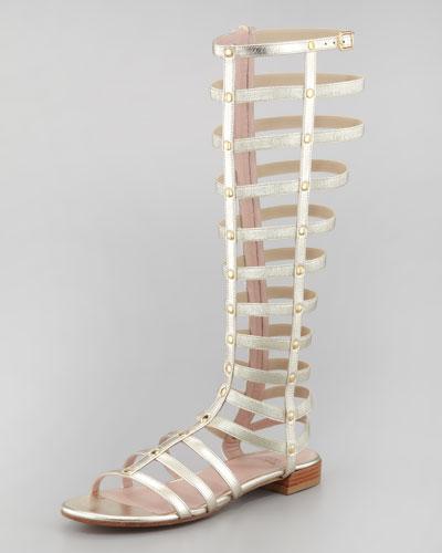 Stuart Weitzman Gladiator Metallic Stretch Sandal