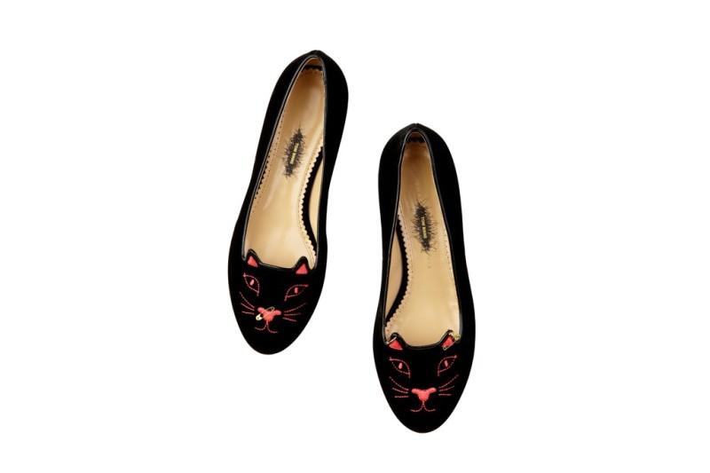 The Anarchy Kitty black velvet shoe.