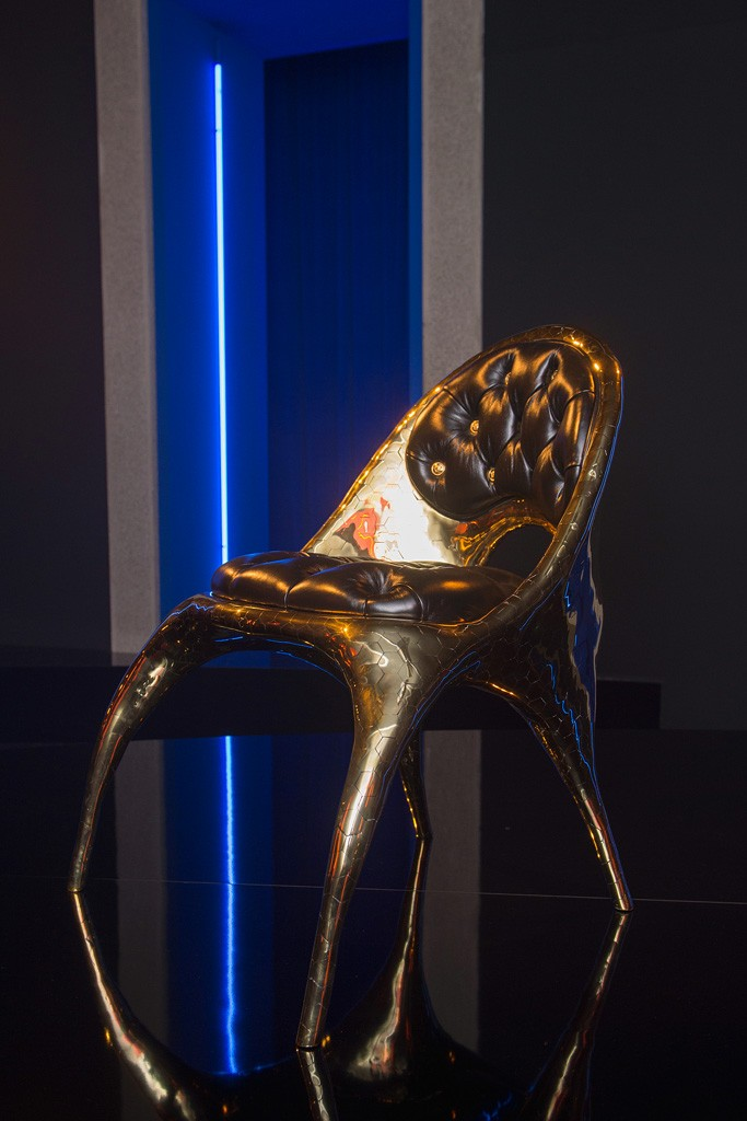 The Donatella Chair from the Versace Home collection.  Photo by Davide Maestri