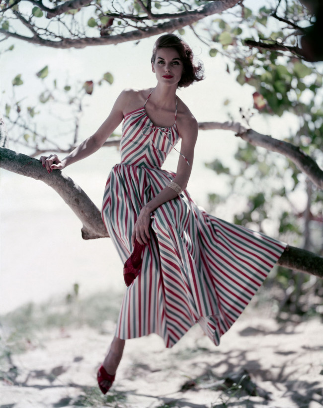 The perfect summer striped dress and red stiletto mules, 1957.