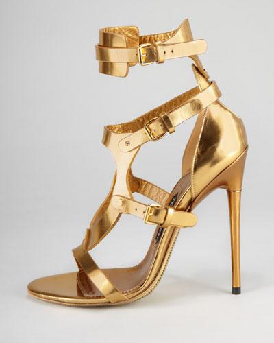 Tom Ford Triple-Buckle Metallic Sandal