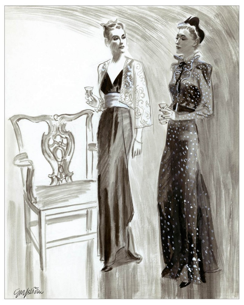 Two women enjoy evening cocktails. One in a sheer Eton jacket over a black dress, the other in a black dotted lace dress, ca 1936.