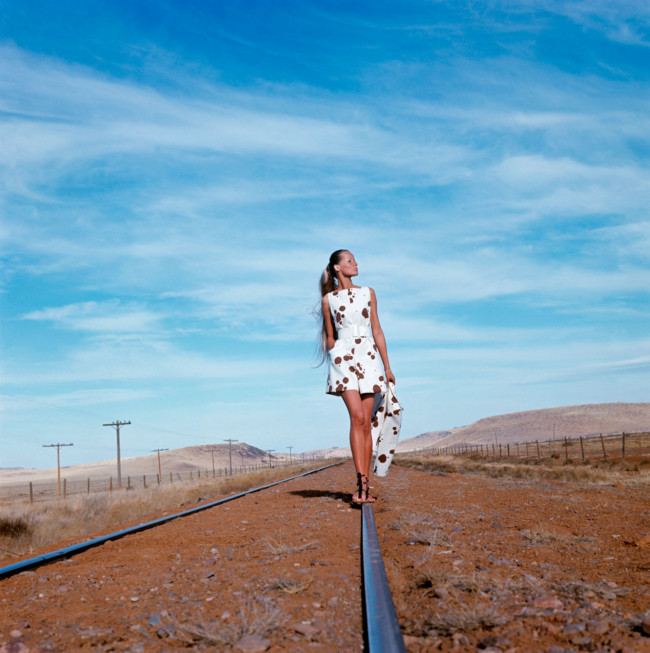 Veruschka photographed in the Alpine Basin of Texas wearing a Dalmation-spotted culotte dress and jacket by Originala, 1968.