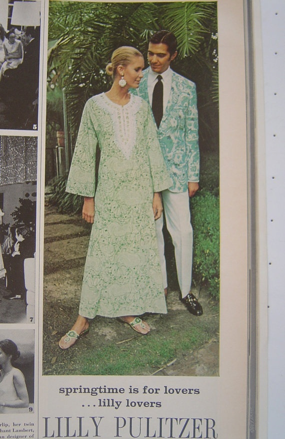 Vintage 1971 Lilly Pulitzer (w:Jack Rogers) Vogue Magazine Ad