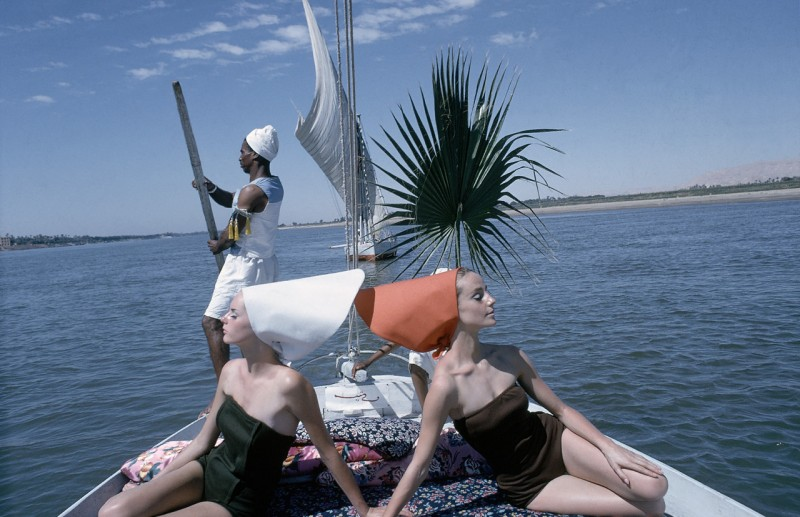 Vogue cruises the Nile. Shot by Sante Forlano in 1964.