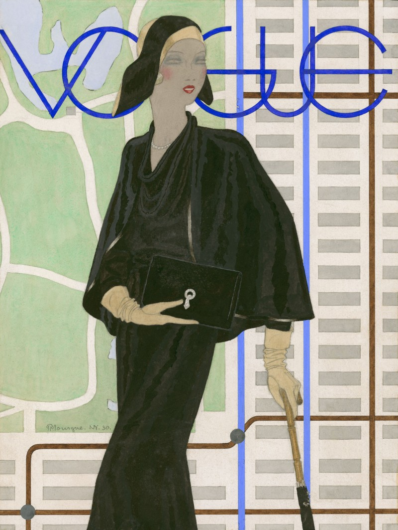 Vogue embraces a 1930s pin-thin silhouette with bias-cut satin and dressy tailoring. Illustration by Pierre Mourgue.
