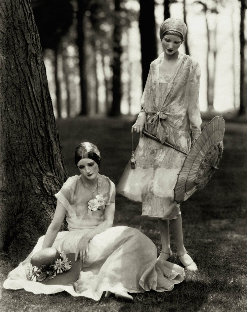 Vogue models Marion Morehouse and Helen Lyons pose for Edward Steichen in chiffon dresses, 1926.